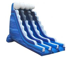22' Double Lane Inflatable Water Slide, Blue Marble