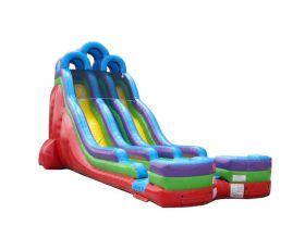 24' Double Lane Inflatable Water Slide, Retro Rainbow