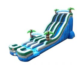 24' Double Lane Inflatable Water Slide, Tropical Marble
