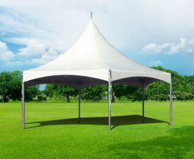 40' Commercial High Peak Hexagon Tent - White