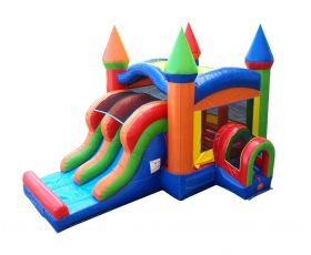 Inflatable Bounce House with Double Lane Slide, Rainbow