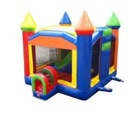 Multi-Play Inflatable Bounce House with Slide, Rainbow