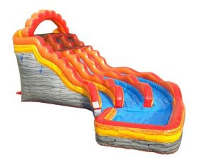 19' Double Lane Curved Inflatable Water Slide, Fire Marble