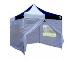 10' x 10' Premium Pop-Up Party Tent - Navy Blue and White
