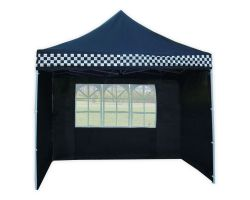 10' x 10' Deluxe Pop-Up Party Tent - Black Checker