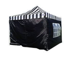 10' x 10' Premium Pop-Up Party Tent - Black Stripe