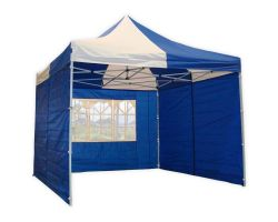 10' x 10' Premium Pop-Up Party Tent - Blue and White