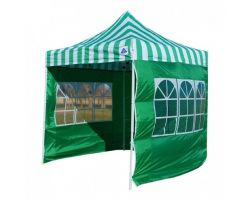 10' x 10' Premium Pop-Up Party Tent - Green Stripe