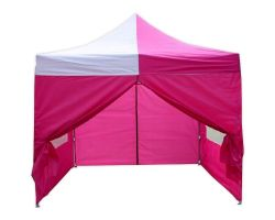 10' x 10' Deluxe Pop-Up Party Tent - Pink and White