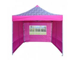 10' x 10' Premium Pop-Up Party Tent - Pink Zebra