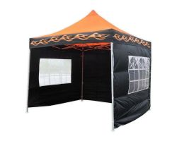 10' x 10' Deluxe Pop-Up Party Tent - Orange Flame
