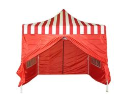 10' x 10' Premium Pop-Up Party Tent - Red Stripe