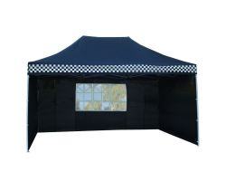 10' x 15' Premium Pop-Up Party Tent - Black Checker