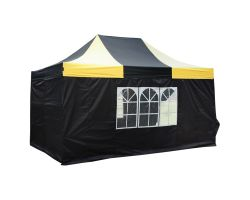 10' x 15' Premium Pop-Up Party Tent - Black and Yellow