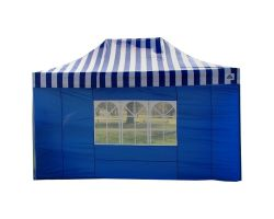 10' x 15' Premium Pop-Up Party Tent - Blue Stripe