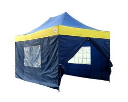 10' x 15' Premium Pop-Up Party Tent - Navy Blue and Yellow