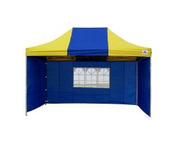 10' x 15' Deluxe Pop-Up Party Tent - Blue and Yellow