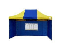 10' x 15' Premium Pop-Up Party Tent - Blue and Yellow
