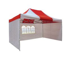 10' x 15' Premium Pop-Up Party Tent - Red and White