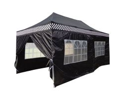 10' x 20' Deluxe Pop-Up Party Tent - Black Checker