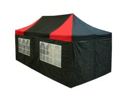 10' x 20' Premium Pop-Up Party Tent - Black and Red