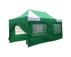 10' x 20' Deluxe Pop-Up Party Tent - Green and White