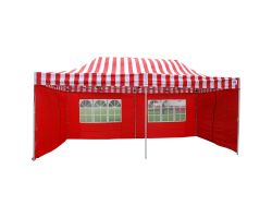 10' x 20' Deluxe Pop-Up Party Tent - Red Stripe