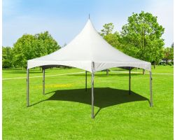 20' Commercial High Peak Hexagon Tent - White