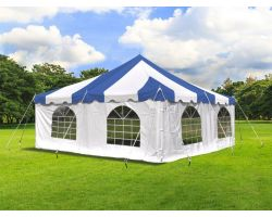 20' X 20' Commercial Steel Pole Tent with Sidewalls - Blue