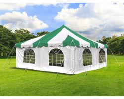 20' X 20' Commercial Steel Pole Tent with Sidewalls - Green