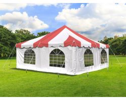 20' X 20' Commercial Steel Pole Tent with Sidewalls - Red