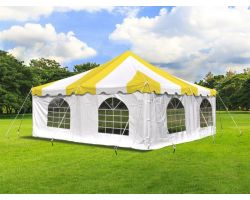 20' X 20' Commercial Steel Pole Tent with Sidewalls - Yellow