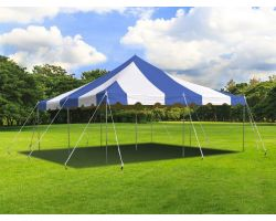 20' X 20' Commercial Steel Pole Tent - Blue and White