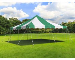 20' X 20' Commercial Steel Pole Tent - Green and White