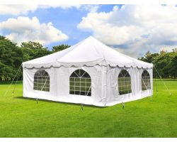 20' X 20' Commercial Steel Pole Tent with Sidewalls - White