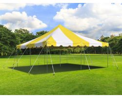 20' X 20' Commercial Steel Pole Tent - Yellow and White