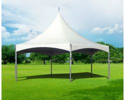 40' Commercial High Peak Hexagon Tent - White