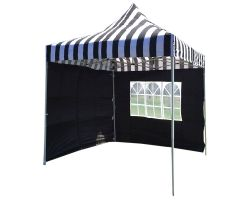 8' x 8' Basic Pop-Up Tent - Black and White Stripe