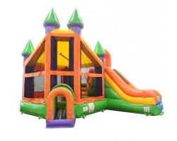 Deluxe Inflatable Bounce House with Slide, Rainbow