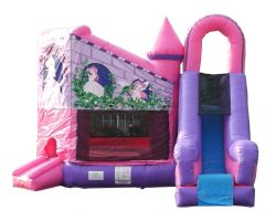Inflatable Bounce House with Slide, Pink Princess