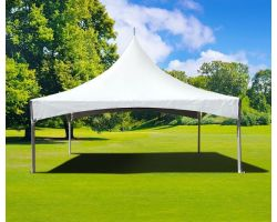 20' X 20' Commercial Twin Tube High Peak Tent - White