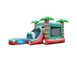 Inflatable Water Bounce House with Slide, Red Marble