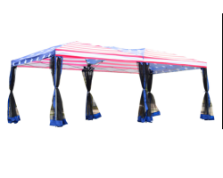 10' X 20' Easy Pop Up Party Tent with Mesh Walls - American Flag