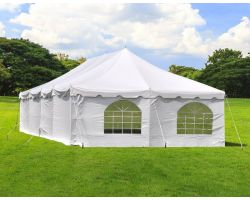 20' X 40' Commercial Steel Pole Tent with Sidewalls - White