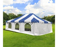 20' X 30' Commercial Steel Pole Tent with Sidewalls - Blue