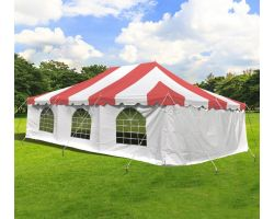 20' X 30' Commercial Steel Pole Tent with Sidewalls - Red