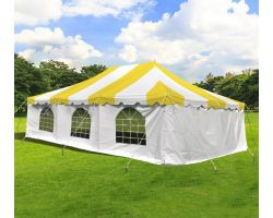 20' X 30' Commercial Steel Pole Tent with Sidewalls - Yellow