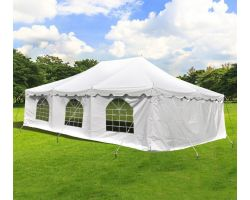20' X 30' Commercial Steel Pole Tent with Sidewalls - White