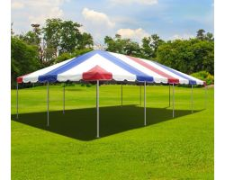20' X 40' Commercial Aluminum Frame Tent - Red White Blue
