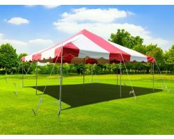 20' X 20' Commercial Steel Pole Tent - Red and White